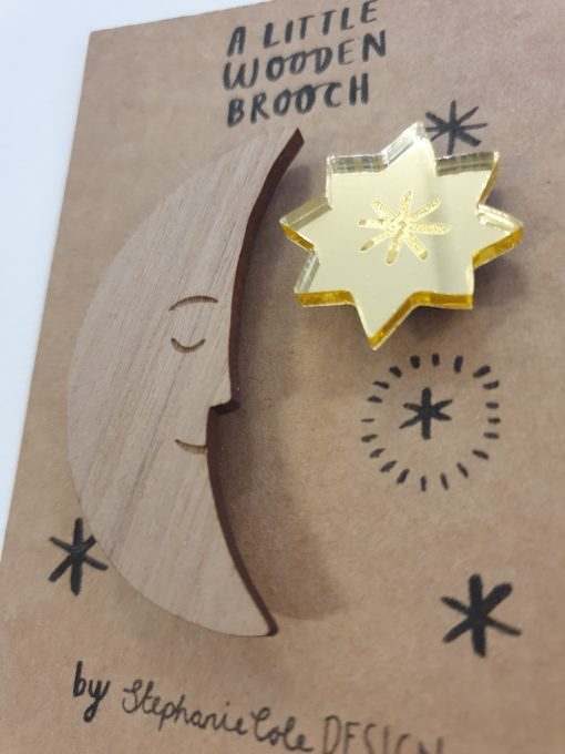 Moon and star brooch by Stephanie Cole Designs
