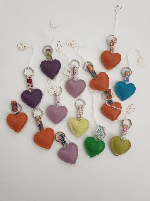 Leather heart keyrings by Teazle