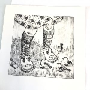 Drypoint of a pair of childs legs surrounded by birds.