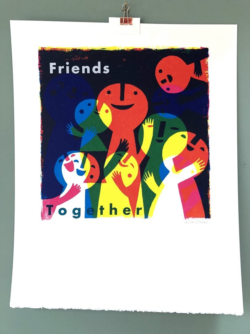 Colourful monoprint of cheerful characters, by Lisa Stubbs
