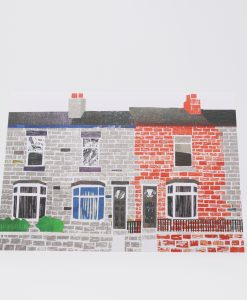 Red and grey terraced houses printed on card