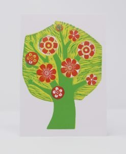 Tree in Blossom, coloured print on card.