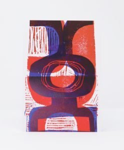 Abstract red and blue print on card