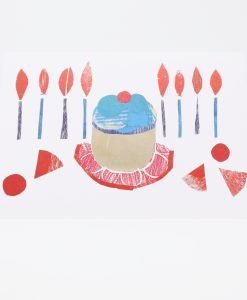 Birthday Cake, candles and shapes printed on card