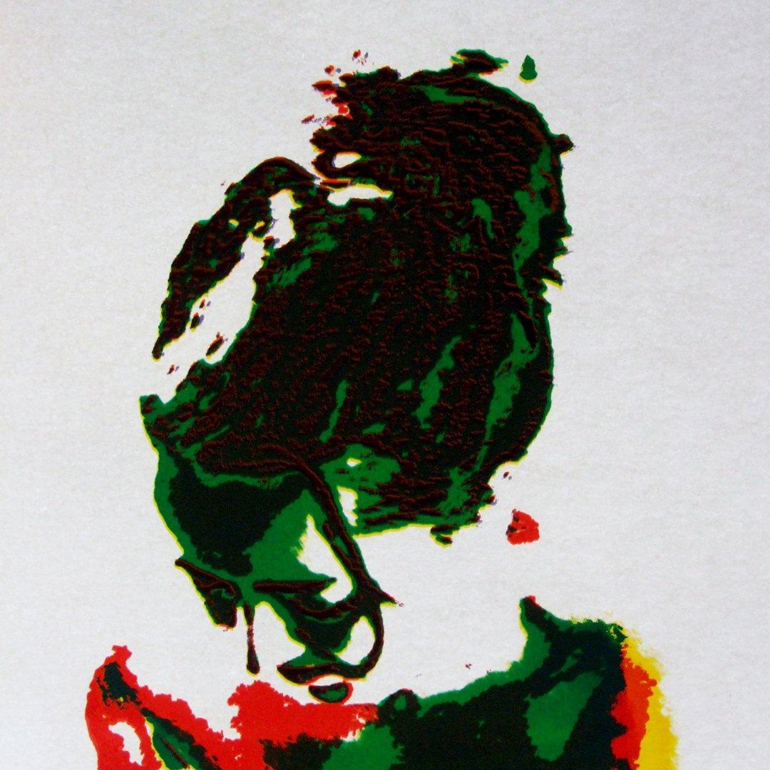 Self portraite of Karen Stansfield, Mulit coloured screen print on textiles